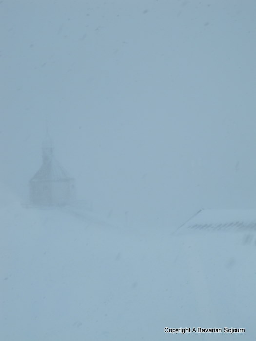 Wallberg Chapel in a blizzard