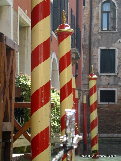 red and white poles venice