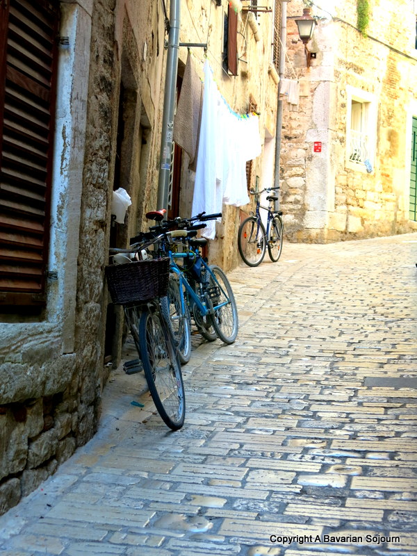 Bikes with cobblestones in Rovinj